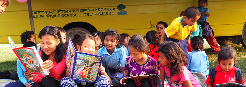 L'école mobile de notre partenaire Népalais BIKALPA